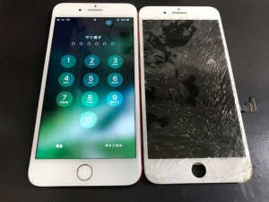 iphone7plus ガラス破損 191106