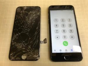 iPhone7 ガラス重度