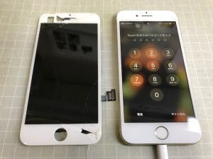 iPhone8 パネル割れ