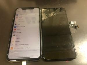 iphoneX ガラス破損修理