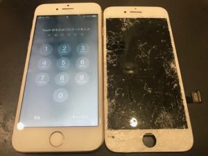 アイフォン8+ ガラス破損