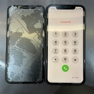 iPhone XR 重度の画面故障追加料金なしで綺麗に修理!!!